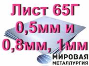 Лист ст.65Г 0, 5мм и 0, 8мм